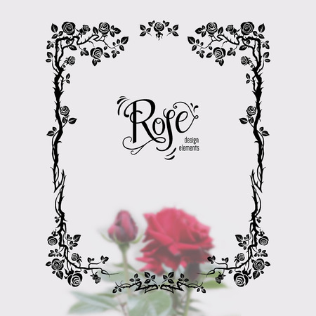 Graphic silhouette of roses for holiday decorations, wedding, anniversary, party, birthday. For invitation, ticket, leaflet, banner, poster and so on. Fairy floral flourish design elements
