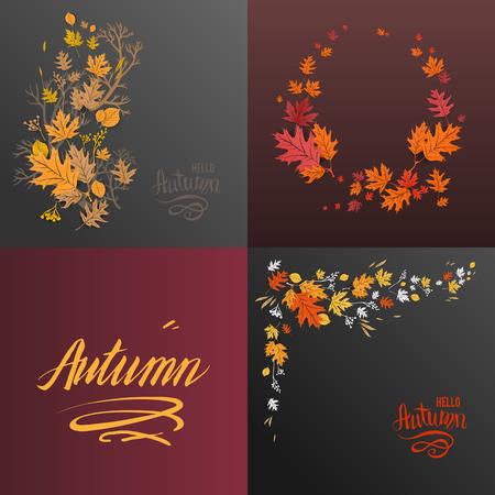 Autumn cards set Illustration