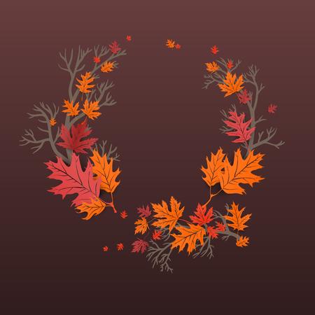 Herbst laeves Ahornkranz Illustration