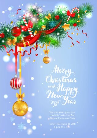 A frost Happy Christmas greeting card vector illustration.
