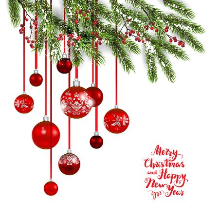 flayer: Merry Christmas tree and balls decoration, vector illustration.