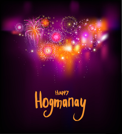 Happy Hogmanay night on black background, vector illustration. Illustration