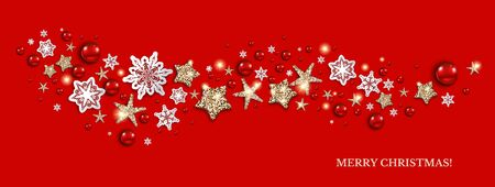 Happy holiday decoration banner on red background, vector illustration.