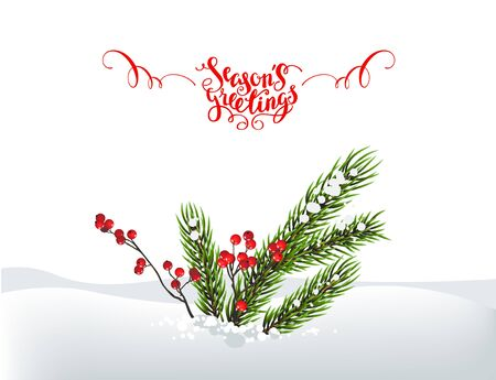 Season tree decoration and greeting on white background, vector illustration.