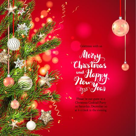 Invito della decorazione dell'albero di Natale su fondo rosso, illustrazione di vettore.