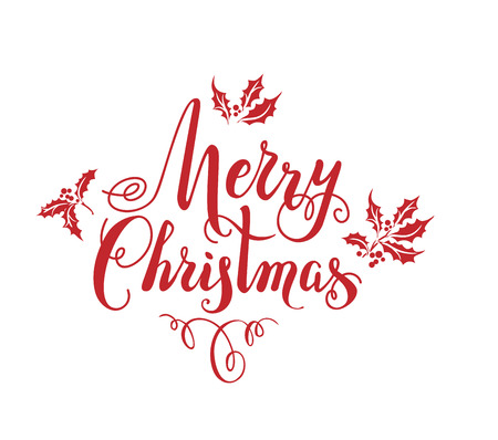 Red ink of Merry Christmas lettering with leaves design, vector illustration