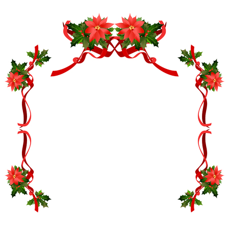 Christmas floral holiday frame