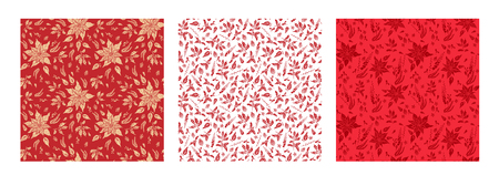 seamless red floral patterns Stock Photo