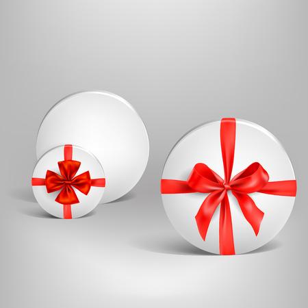 Holiday white box and ribbon
