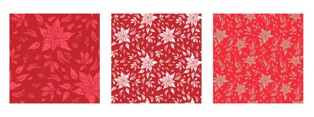 Red floral patterns set Illustration