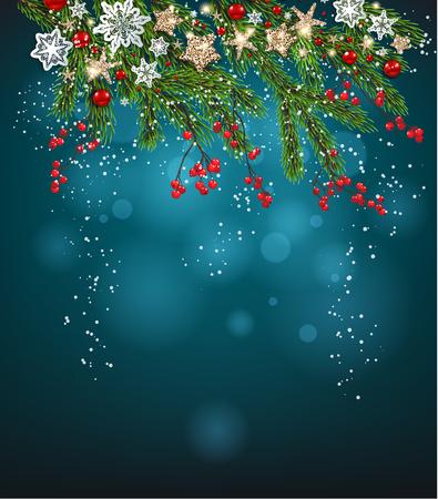 Christmas invitation card, vector illustration.