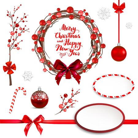 Christmas red holiday design elements set. Wreath with red balls, ribbon, bow, box, and branches and snowflakes. Merry Christmas lettering.