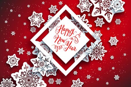 Red festive snowflakes background