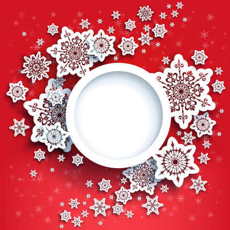 Winter snowflakes card red Stock Photo