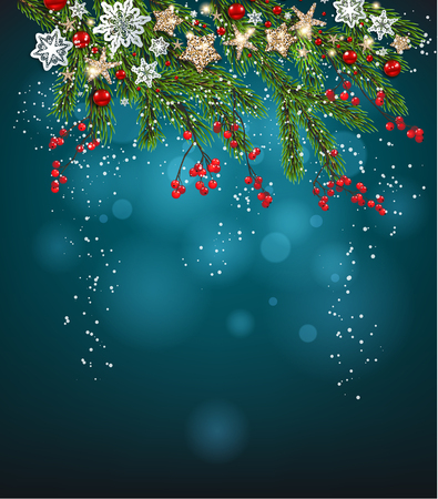 Holiday fir tree branches on blue background. Natural woodland design elements. Winter fairy background with place for text.