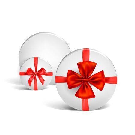 White round box tied with a red shiny ribbon bow. Design element isolated for Christmas, birthday, anniversary, new year, party or other celebrations and events.