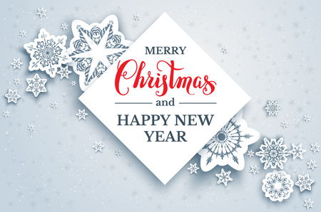 Elegant paper cut snowflakes. Snow christmas winter layout for design banner, ticket, invitation, greetings, leaflet and so on. Realistic effect with shadow. Merry Christmas lettering.