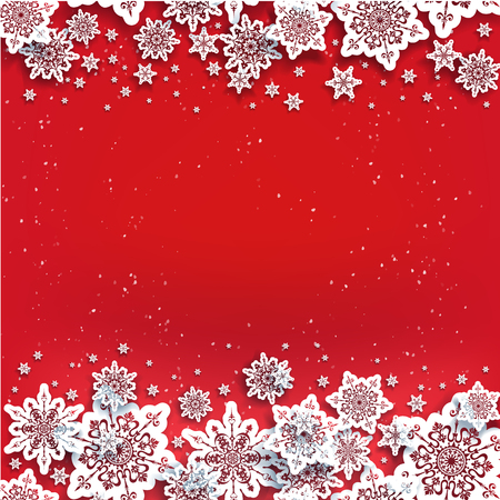 Holiday paper cut snowflakes on color background. Snow christmas winter decoration for design banner, ticket, invitation, greetings, leaflet and so on. Realistic effect with shadow. Illustration