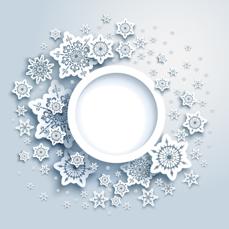 Round frame winter paper cut card. Snowflakes christmas decoration for design banner, ticket, invitation, greetings, leaflet and so on.