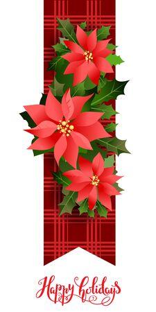 Christmas festive holly design elements.