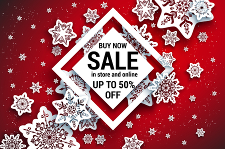 Winter sale off template with paper cut snowflakes; Seasonal advertising for banner, poster, leaflet and so on; Realistic effect. Illustration
