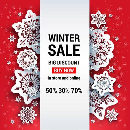 Sale red winter card design.