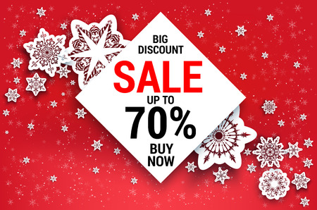 Snowflakes sale banner on a sparkling background. Illustration
