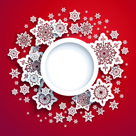 Round frame winter paper cut red card. Snowflakes christmas decoration for design banner, ticket, invitation, greetings, leaflet and so on.