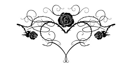Graphic silhouette of roses for holiday decorations, wedding, anniversary, party, birthday. For invitation, ticket, leaflet, banner, poster and tattoo. Fairy floral flourish design elements 版權商用圖片 - 94133694