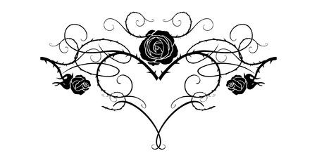 Silueta gráfica de rosas para decoraciones navideñas, bodas, aniversario, fiesta, cumpleaños. Para invitación, boleto, folleto, banner, cartel y tatuaje. Elementos florales de diseño floral de hadas. Ilustración de vector