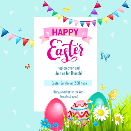 Happy Easter Card Template With Painted Eggs Vector Illustration