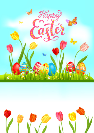 Tulip Bright blue easter card Vector illustration. Illustration