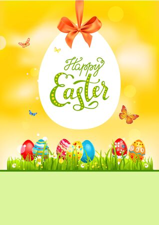 Egg Bright easter card Vector illustration.