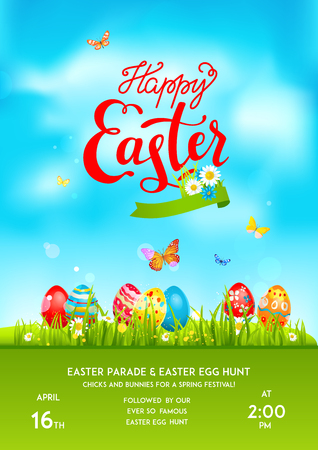 Poster holiday Easter eggs Vector illustration.