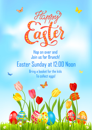 Tulip Poster holiday Easter Vector illustration.