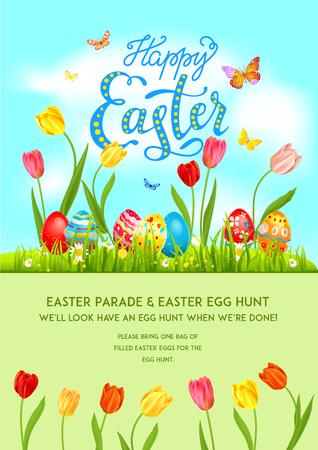 Flower Poster holiday Easter Vector illustration. Illustration