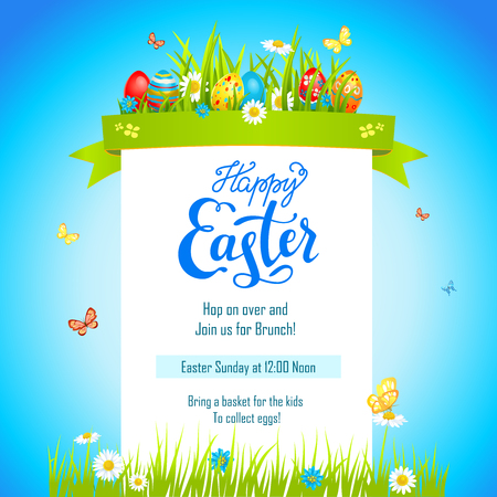 happy easter card template with painted eggs Vector illustration.