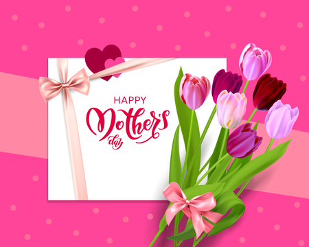 Pink Holiday Mothers day banner Vector illustration.