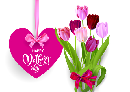 happy mothers day text on heart with ribbon and tulips bouquet, Vector illustration. Illustration