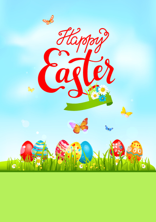 Green blue easter card