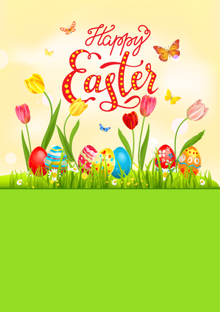 Bright Easter eggs on a grass. Easter holiday background for design card, banner, ticket, leaflet, poster and so on. Template with space for text. Happy Easter lettering. Illusztráció