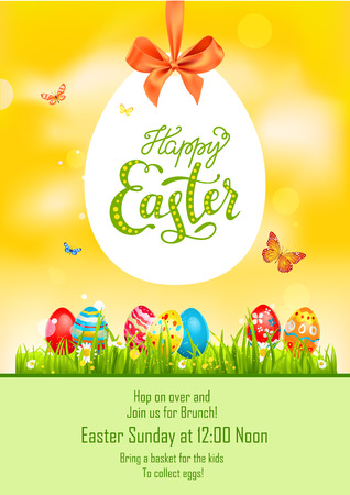 Yellow and green holiday Easter Illustration