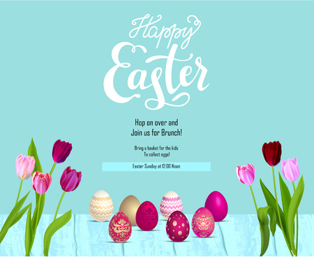 Bright Easter eggs festive card. Easter holiday background for design card, banner, ticket, leaflet, poster and so on. Happy Easter lettering.