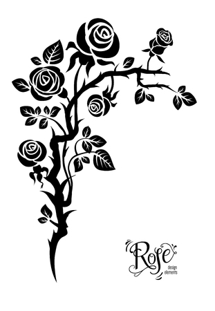 Black flower tattoo with stems and branches 版權商用圖片 - 97450815
