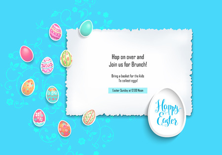 Happy Easter and color eggs card . Template page with handwritten inscription Happy Easter.