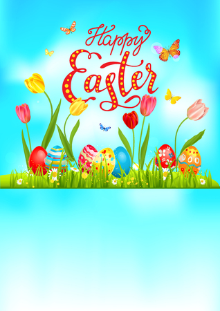 Happy easter design with set of eggs and butterflies