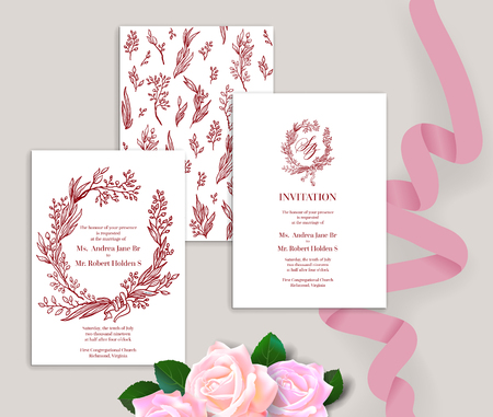 Set of wedding stationery ornamental cards concept. Handwritten calligraphic style. Elegant invitatin wedding template.