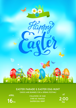 Bright Easter eggs on a grass. Easter holiday background for design card, banner, ticket, leaflet, poster and so on. Template with space for text. Happy Easter lettering. Illustration