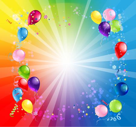 Card Bright holiday balloons