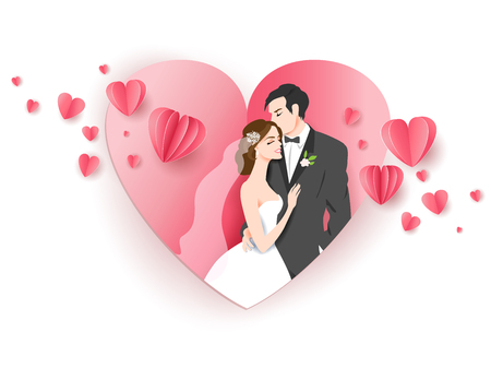 Heart bride and groom Stock Photo